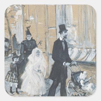 Primer día de la comunión, 1888 pegatina cuadrada