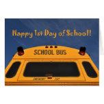Primer día feliz de autobús escolar felicitaciones