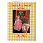 Primer día feliz en la escuela Lauren Tarjeta De Felicitación