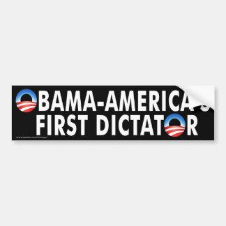 """primer dictador de Obama """"Obama-América anti """" Etiqueta De Parachoque"""