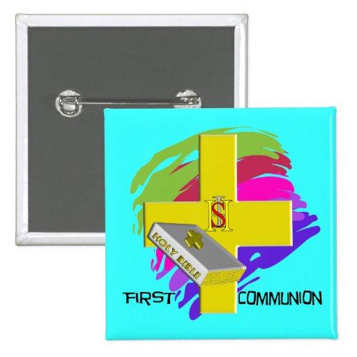 Primer diseño de la CRUZ del ORO de la comunión Pin Cuadrado