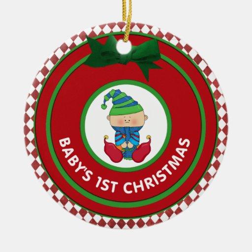 Primer duende del día de fiesta del navidad de adorno redondo de cerámica