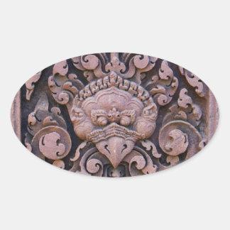 Primer en una piedra roja grabada en Angkor Calcomanía Oval Personalizadas