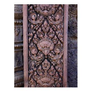 Primer en una piedra roja grabada en Angkor Tarjetas Postales