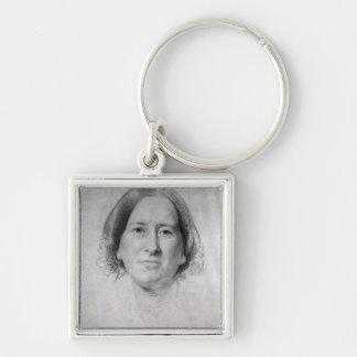 Primer estudio para el retrato de George Eliot Llavero Cuadrado Plateado