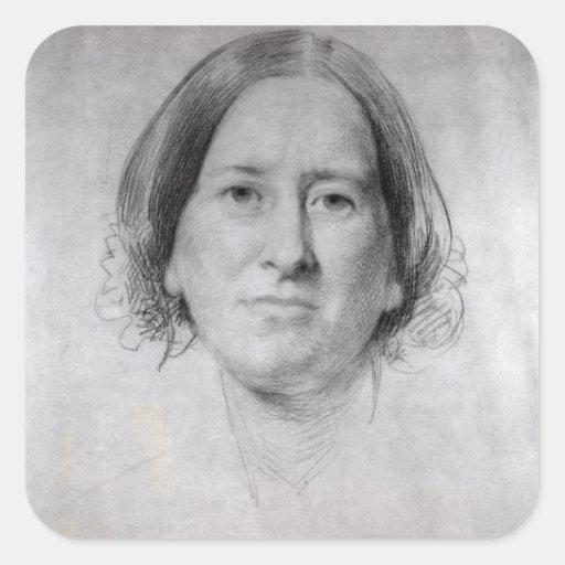 Primer estudio para el retrato de George Eliot Calcomanía Cuadrada Personalizada