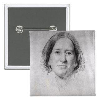 Primer estudio para el retrato de George Eliot Pin Cuadrada 5 Cm
