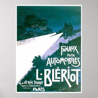 Primer faro para los automóviles póster