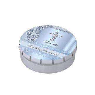Primer favor azul de la confirmación de la latas de dulces