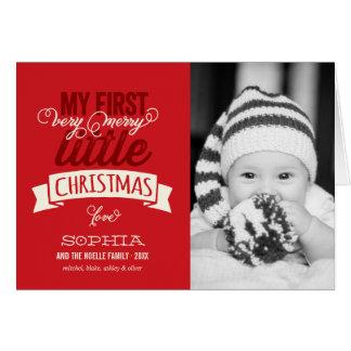 Primer feliz pequeño saludo de la foto del navidad tarjeta de felicitación
