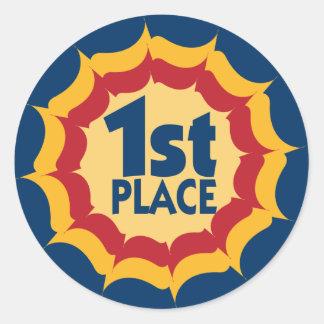 Primer ganador de la cinta del lugar pegatina redonda