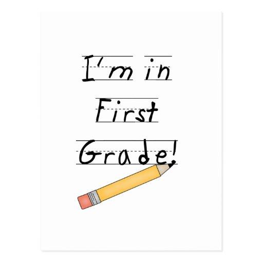 Primer grado alineado del papel y del lápiz tarjetas postales