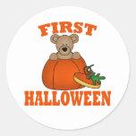 Primer Halloween Etiquetas Redondas