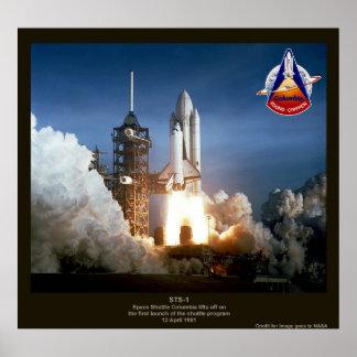 Primer lanzamiento STS-1 Columbia del transbordado Póster