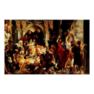 Primer limpiamiento de Jesús' del templo (2:13 de  Posters