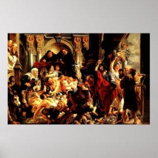 Primer limpiamiento de Jesús' del templo (2:13 de  Póster