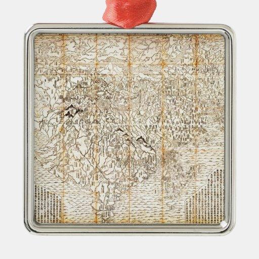Primer mapa budista japonés 1710 de la ornamentos de reyes