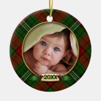 Primer marco de la foto del navidad del bebé ornato