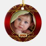 Primer marco de la foto del navidad del bebé adorno para reyes