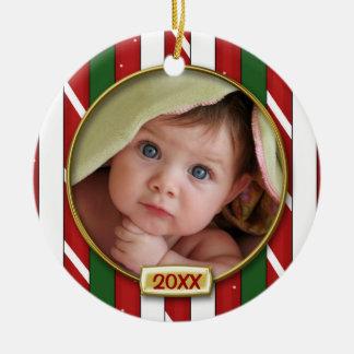 Primer marco de la foto del navidad del bebé ornamento de navidad