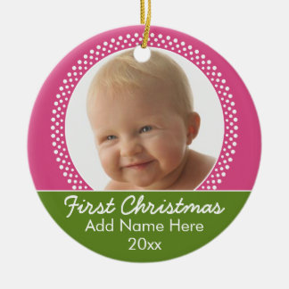 Primer marco de la foto del navidad del bebé ornamentos para reyes magos