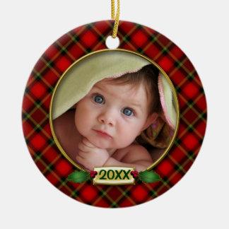 Primer marco de la foto del navidad del bebé ornamento para reyes magos