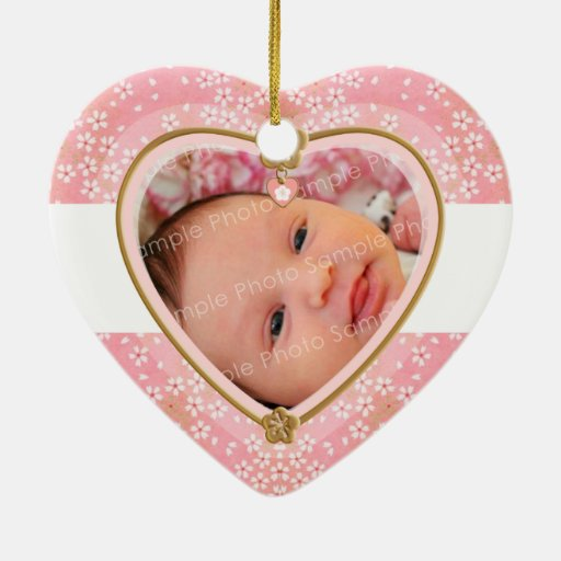 Primer marco del corazón del navidad del bebé adorno navideño de cerámica en forma de corazón