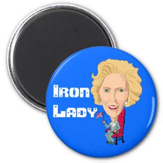 Primer ministro británico anterior dama de hierro  imán redondo 5 cm
