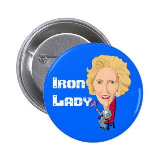 Primer ministro británico anterior dama de hierro  pin redondo de 2 pulgadas