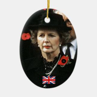 Primer ministro de Margaret Thatcher Adorno Navideño Ovalado De Cerámica