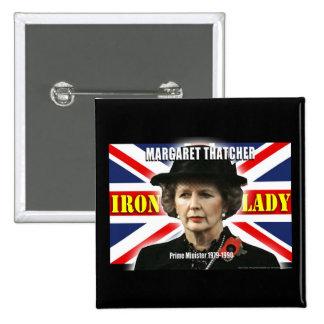 Primer ministro de Margaret Thatcher Pin Cuadrada 5 Cm