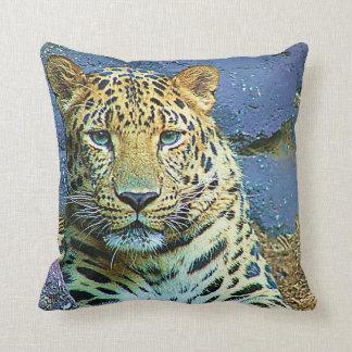 Primer misterioso del diseño del leopardo cojín