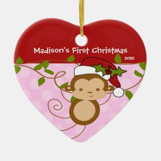 Primer mono de Santa del chica del ornamento del Adorno Navideño De Cerámica En Forma De Corazón