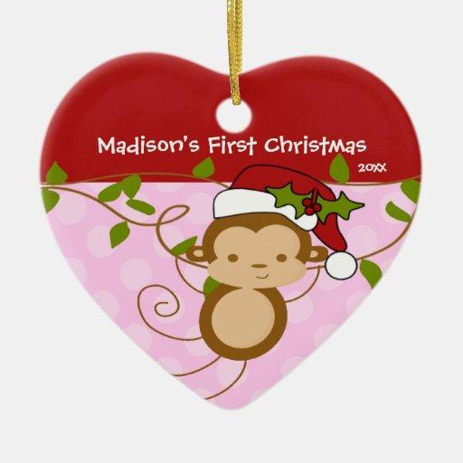 Primer mono de Santa del chica del ornamento del Adorno De Cerámica En Forma De Corazón
