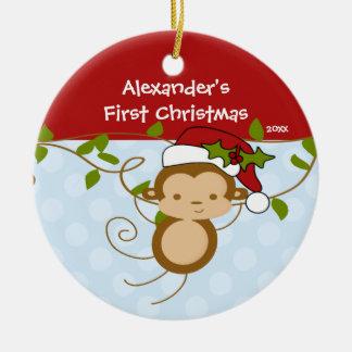 Primer mono de Santa del muchacho del ornamento Adorno Navideño Redondo De Cerámica