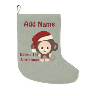 Primer mono de Santa del navidad del bebé lindo Calcetín De Navidad Grande