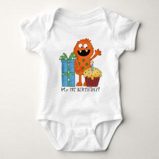 Primer mono del bebé del monstruo del cumpleaños polera