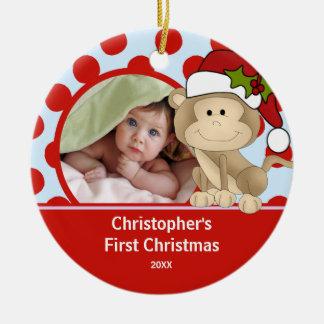 Primer mono del ornamento de la foto del navidad adorno navideño redondo de cerámica
