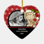 Primer mono del ornamento de la foto del navidad d ornamento de navidad