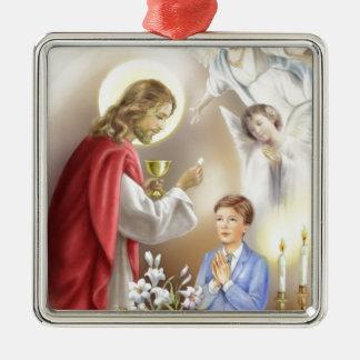 Primer muchacho de la comunión santa adornos de navidad