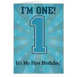 Primer muchacho del cumpleaños, soy uno, número az felicitación