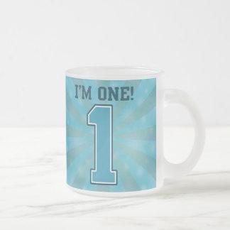 Primer muchacho del cumpleaños, soy uno, número az taza