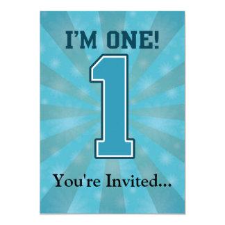 """Primer muchacho del cumpleaños, soy uno, número invitación 5"""" x 7"""""""