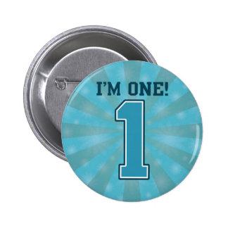 Primer muchacho del cumpleaños, soy uno, número pin redondo de 2 pulgadas