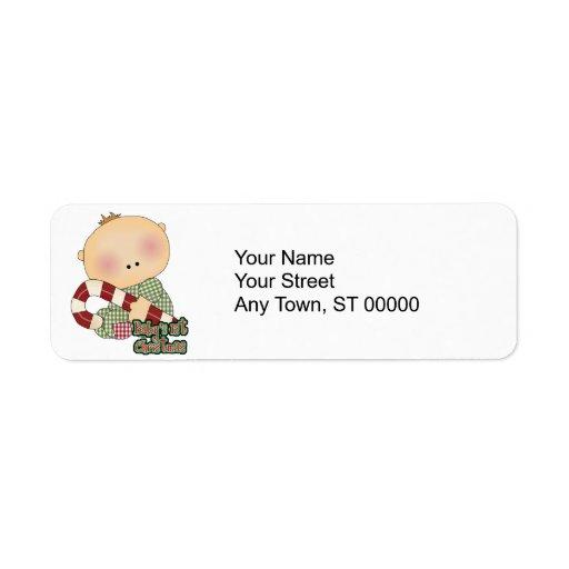 primer muchacho del navidad de los babys etiqueta de remitente