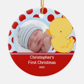 Primer muchacho del pato del ornamento de la foto adorno navideño redondo de cerámica