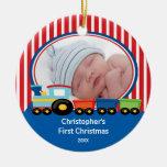 Primer muchacho del tren del ornamento de la foto adornos de navidad