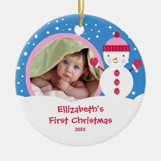 Primer muñeco de nieve del ornamento de la foto de adornos de navidad
