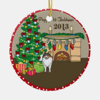 Primer navidad 2013 de Sheltie Puppys Adorno Redondo De Cerámica