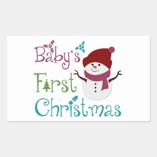 Primer navidad adorable de Babys Pegatina Rectangular